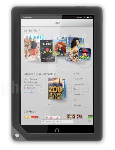 nook hd+ Actual Size Image