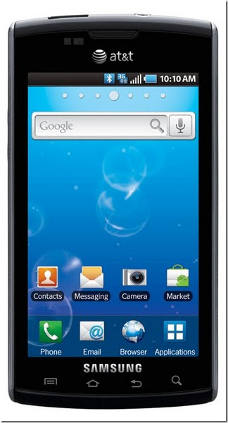 Samsung Captivate i897 (Galaxy S) Actual Size Image