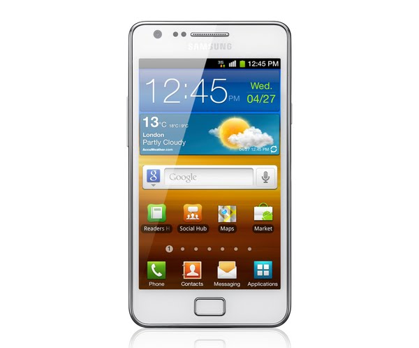 Samsung Galaxy S II Actual Size Image