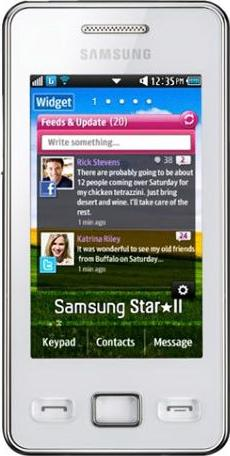 Samsung S5260 Star II Actual Size Image
