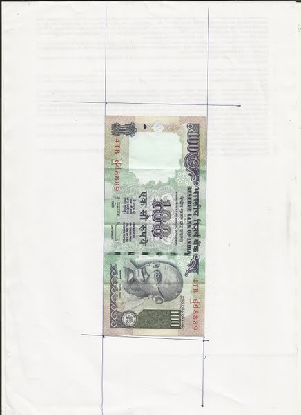 size 100 rupees Actual Size Image