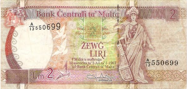 Two Maltese Liri Note Actual Size Image